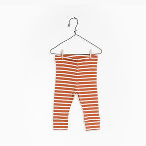Stribede Rib Leggings - Brændt Orange -  Play Up