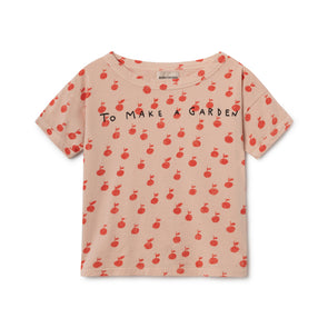 Apple Short Sleeve T-Shirt - Bobo Choses - Str. 92-134 - Sart rosa og rød