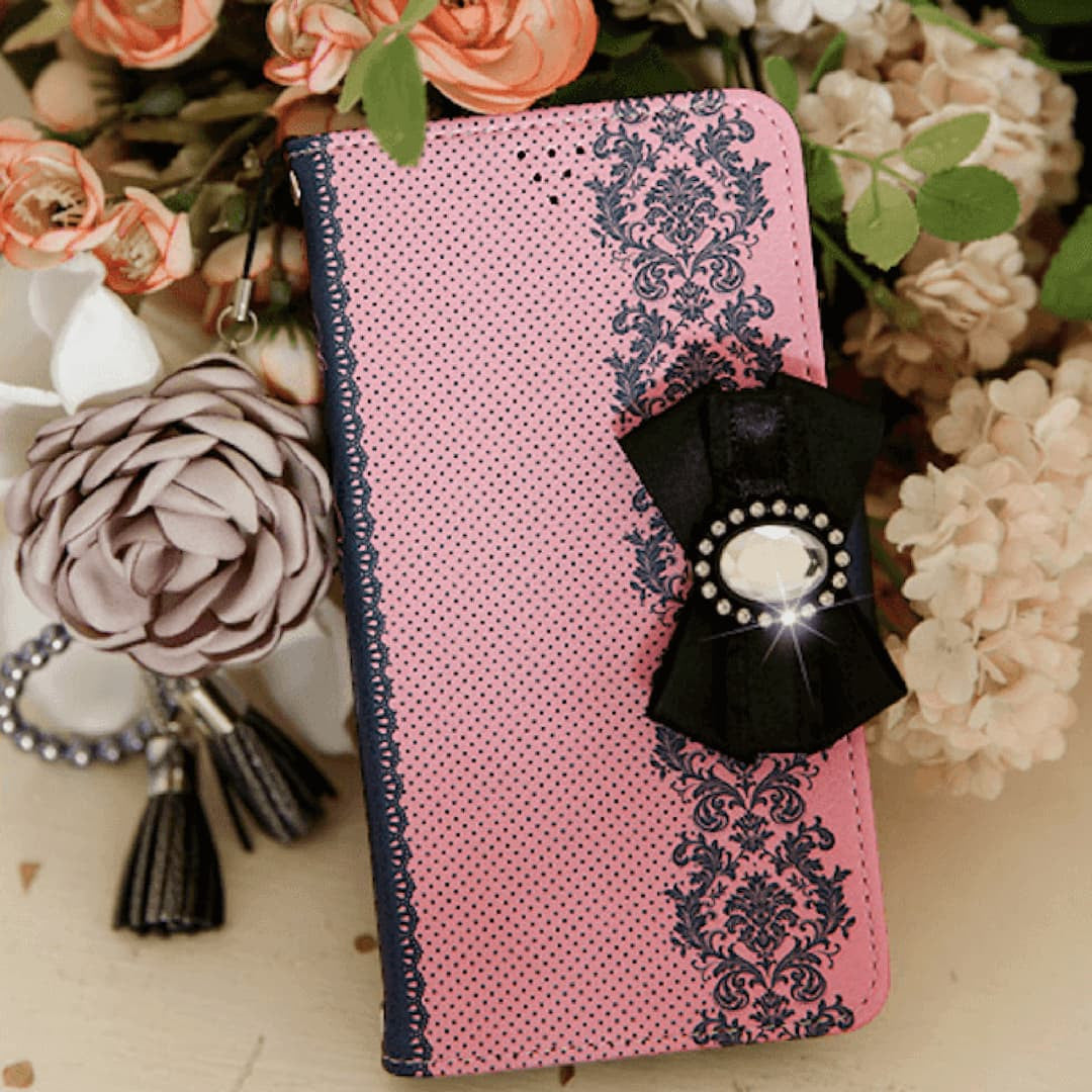 Full Set :  Shirring Object Wallet Case + Peony Flower Strap + Iris Hand Chain- Indi Pink - JessicaCollection