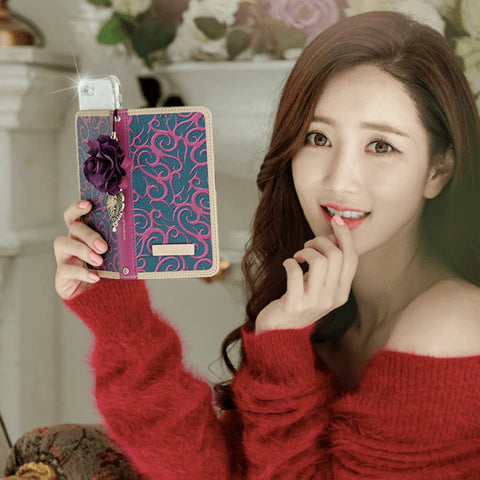 Full Set :  Henna Wallet Case + Isabelle Flower Strap - Purple