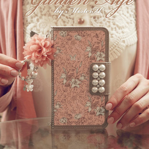 Full Set :  Garden Age Hand Made Wallet Case + Leavely Flower String + Hand Chian - Pink - JessicaCollection
