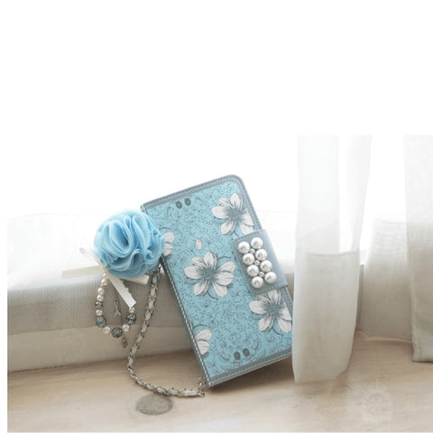 Garden Age Hand Made Wallet Case + Siel Flower String+ Hand Chian - Blue - JessicaCollection