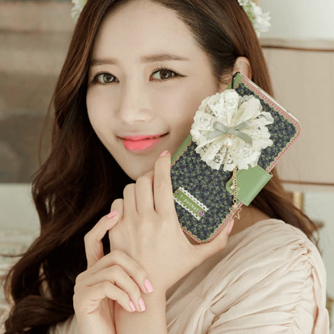 Full Set : Freesia Wallet Case + Sway Flower Strap   - Violet - JessicaCollection