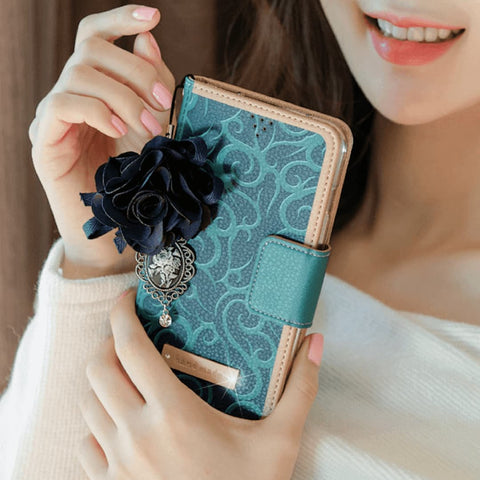 Full Set :  Henna Wallet Case + Isabelle Flower Strap  - Indigo