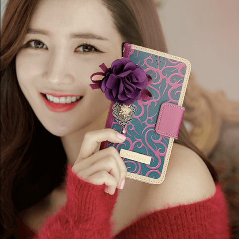 Full Set :  Henna Wallet Case + Isabelle Flower Strap - Purple - JessicaCollection