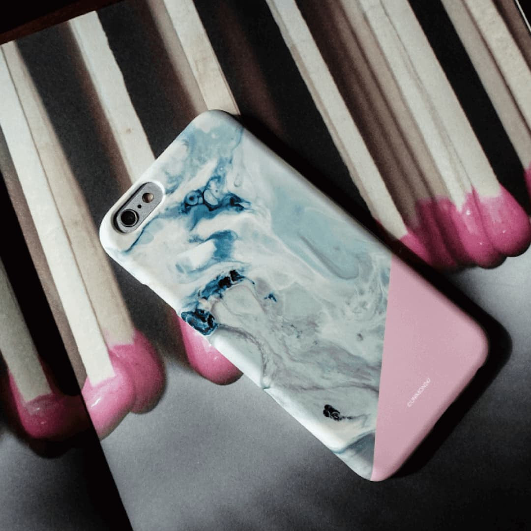 Deep in Pink Marble Effect Back Phone Case (UN-1717) - JessicaCollection