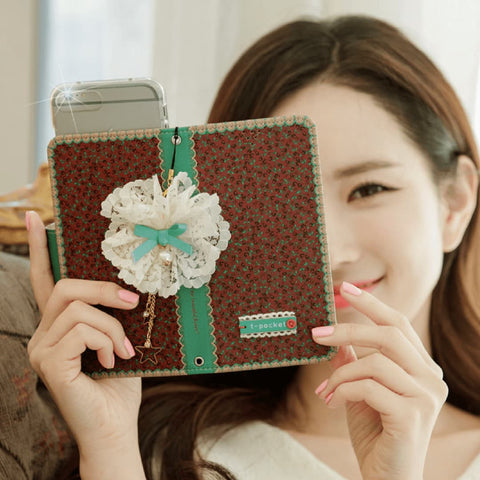 Full Set :  Freesia Wallet Case + Sway Flower Strap  - Wine
