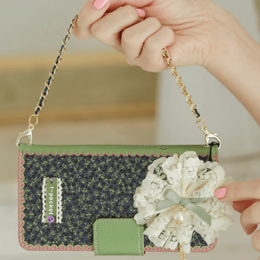 Full Set : Freesia Wallet Case + Sway Flower Strap + Iris Hand Chain  - Violet - JessicaCollection