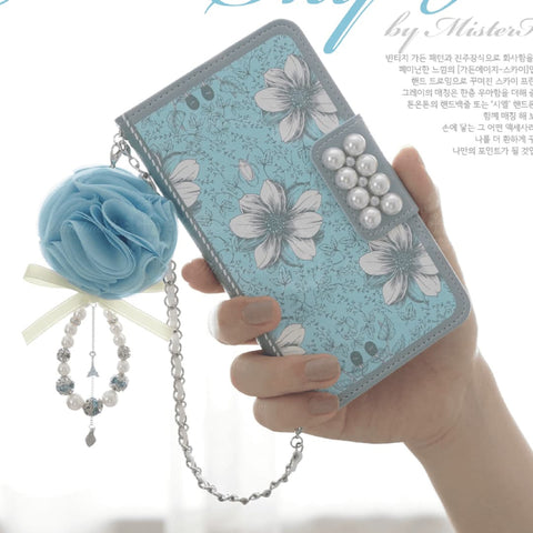 Garden Age Hand Made Wallet Case + Siel Flower String - Blue - JessicaCollection