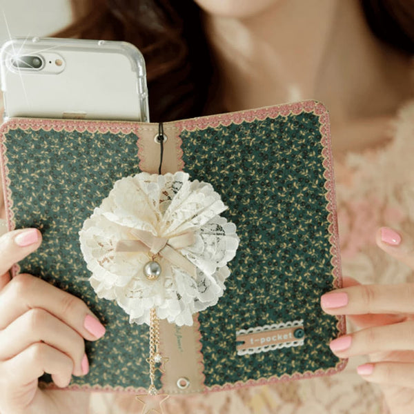 Full Set : Freesia Wallet Case + Sway Flower Strap + Iris Hand Chain - Blush - JessicaCollection