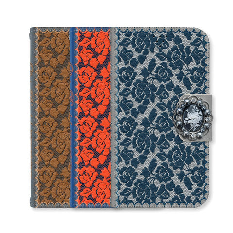 Full Set :  Olivia Wallet Case + Casa Flower Strap - Orange - JessicaCollection