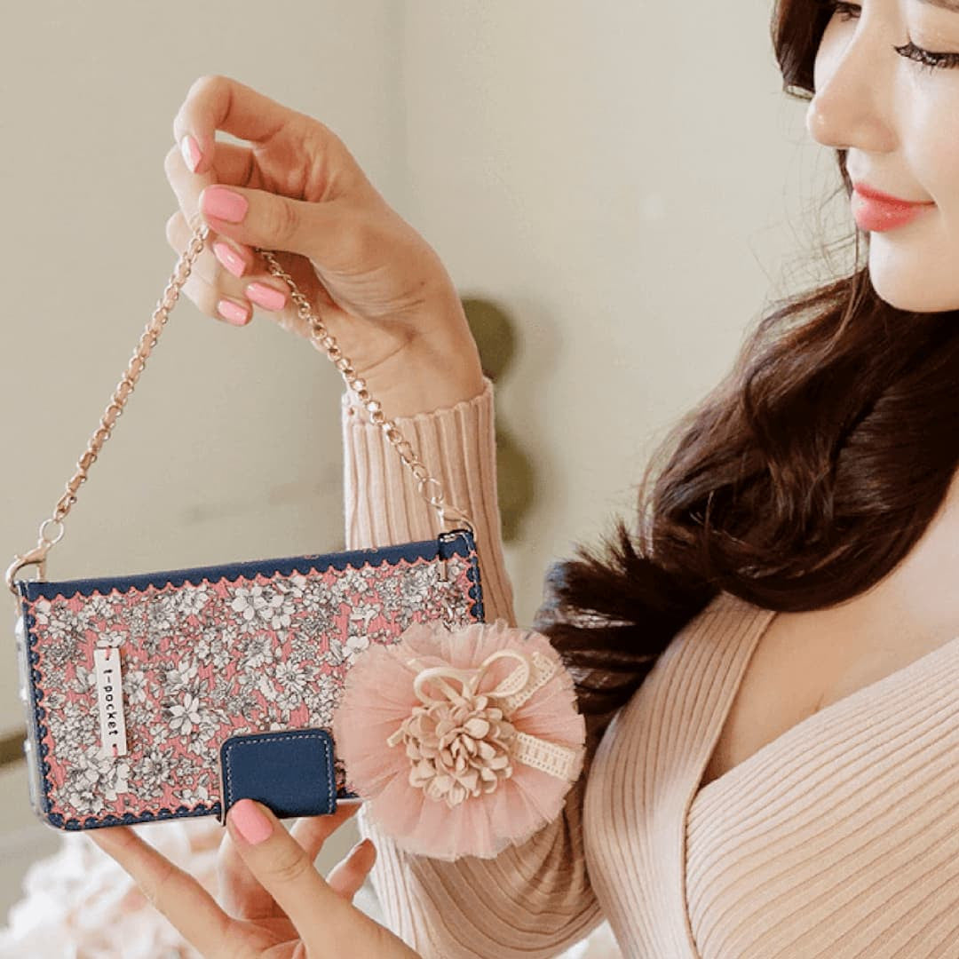 Full Set :  Sheer Bergamot Wallet Case + Audrey Flower Strap + Iris Hand Chain - Indi Pink