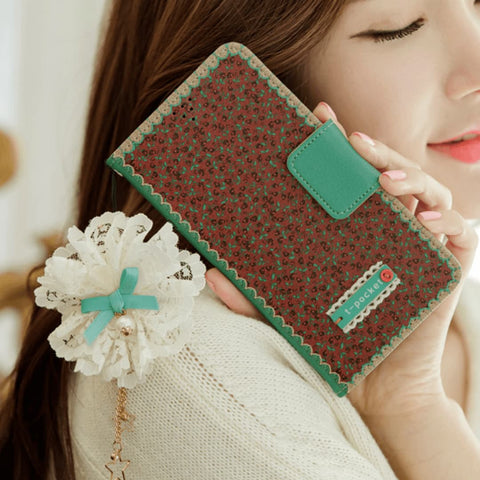 Full Set :  Freesia Wallet Case + Sway Flower Strap + Iris Hand Chain  - Wine