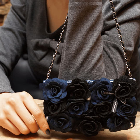 Full Set: Bella Rosette Hand Made Wallet Case - Navy  + Phone Chain - JessicaCollection