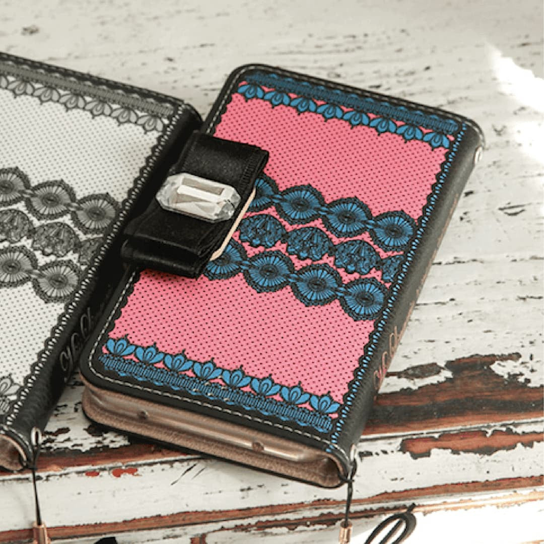 Full Set:  Miss Lingerie Wallet Case + Clef Ribbon Strap - Indipink - JessicaCollection