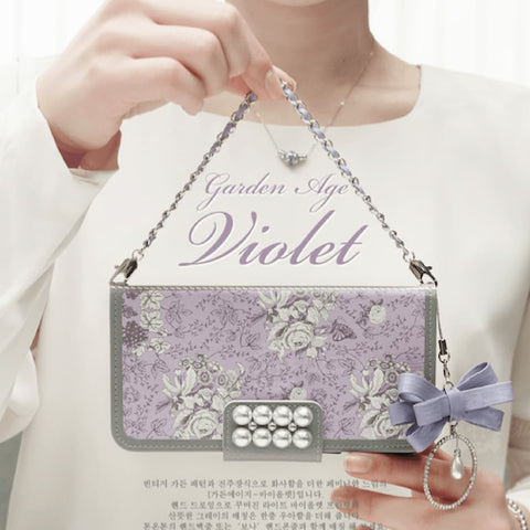 Garden Age Hand Made Wallet Case + Bona Ribbon String+ Hand Chian - Violet - JessicaCollection