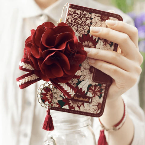 Full Set: Fervor Hand Made Wallet Case + Carmesi Flower String
