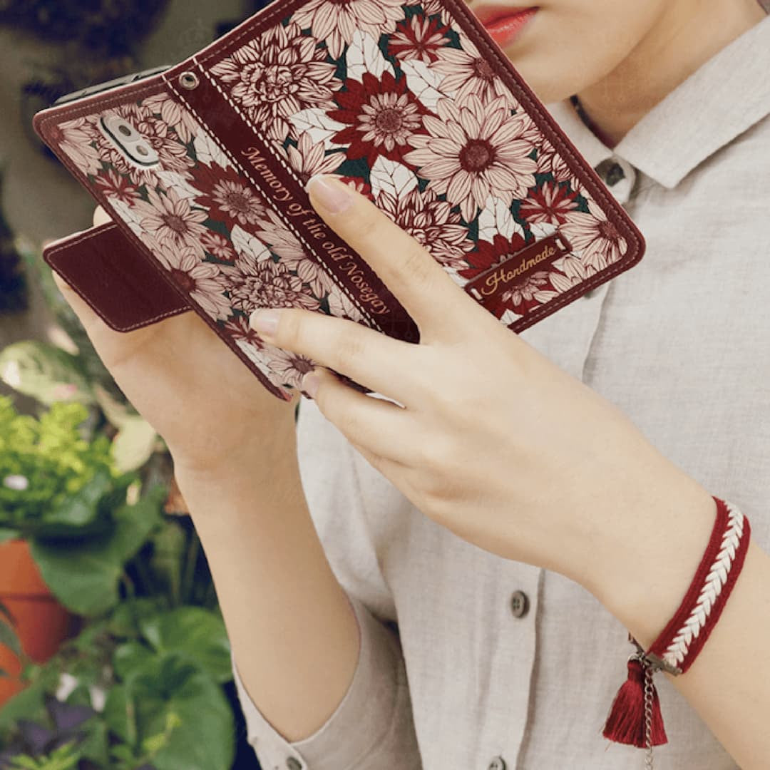 Full Set: Fervor Hand Made Wallet Case + Carmesi Flower String - JessicaCollection