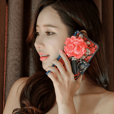 Full Set :  Olivia Wallet Case + Casa Flower Strap - Orange