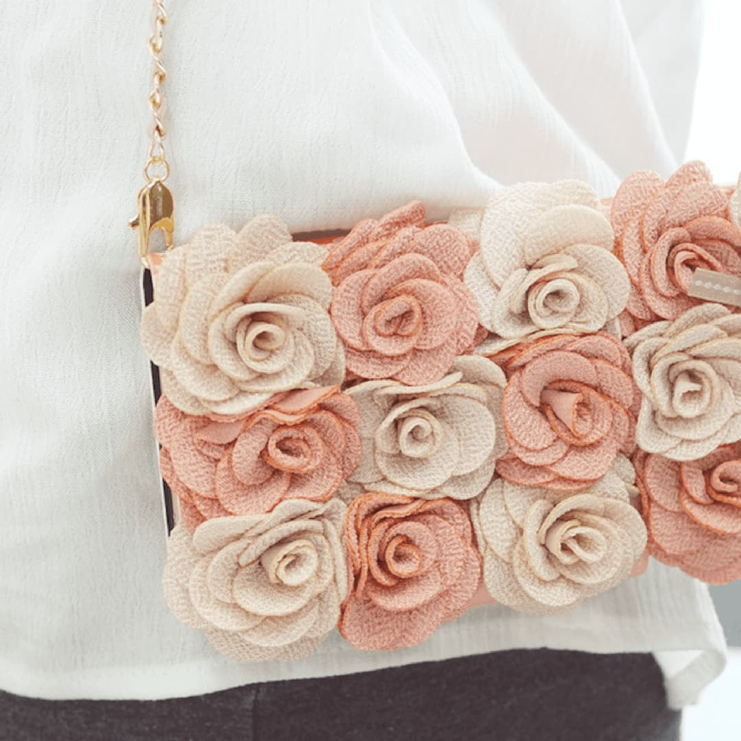 Bella Rosette Hand Made Wallet Case  - Pink - JessicaCollection