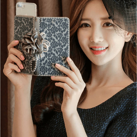 Olivia Raschel Handmade Wallet Case - Navy - JessicaCollection