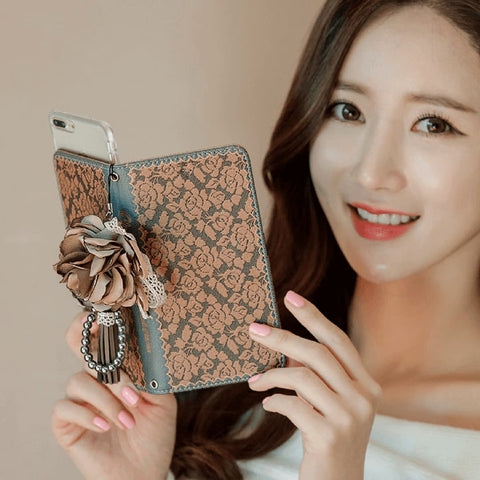 Full Set :  Olivia Wallet Case + Casa Flower Strap  - Camel
