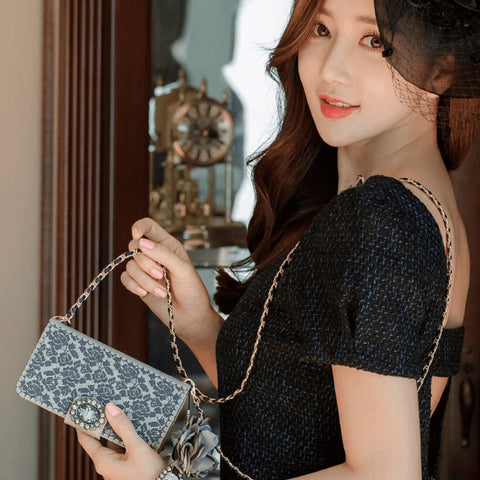 Full Set :  Olivia Wallet Case + Casa Flower Strap - Navy