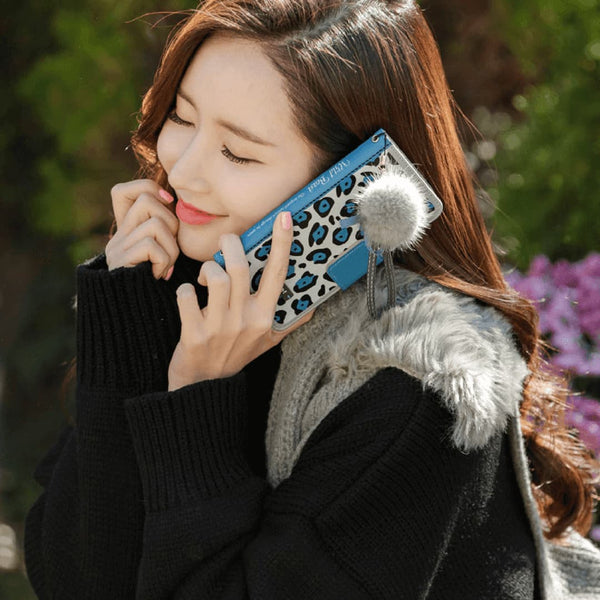 Full Set: Wild Beast Handmade Wallet Case + ChouCream Fur Strap- Blue - JessicaCollection
