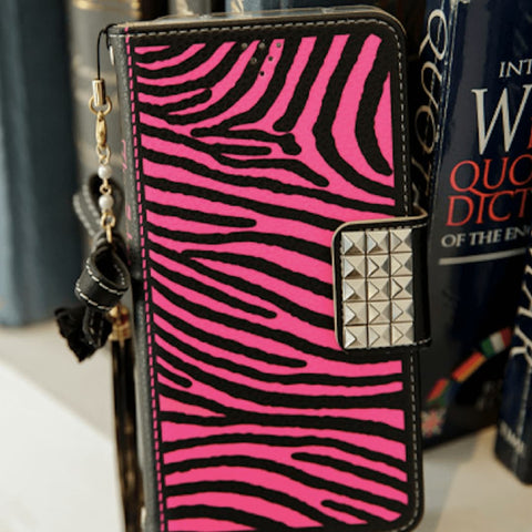 Full Set :  The Zebra Wallet Case + Gleaming Ribbon Strap + Tweave Shoulder Chain - Hot pink