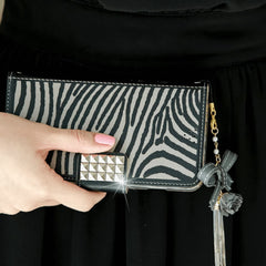 Full Set :  The Zebra Wallet Case + Gleaming Ribbon Strap - Grey - JessicaCollection