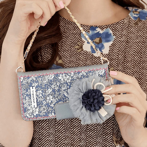 Full Set :  Sheer Bergamot Wallet Case + Audrey Flower Strap + Iris Hand Chain - Navy