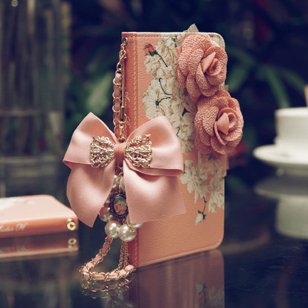 Full Set:Amy Rosette Hand Made Wallet Case + Bella Pink String - JessicaCollection