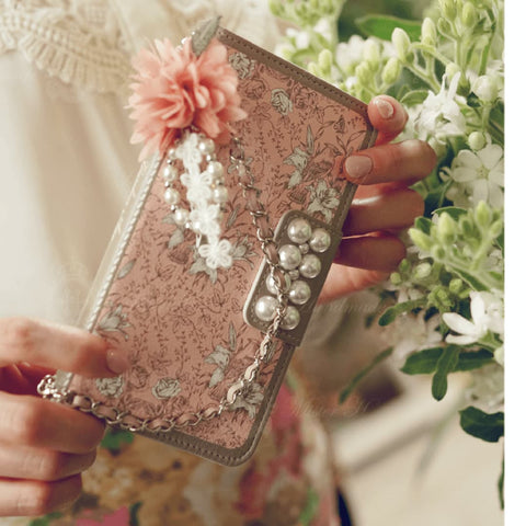 Full Set :  Garden Age Hand Made Wallet Case + Leavely Flower String - Pink