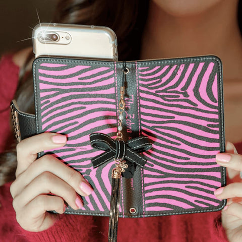 Full Set :  The Zebra Wallet Case + Gleaming Ribbon Strap - Hot pink - JessicaCollection
