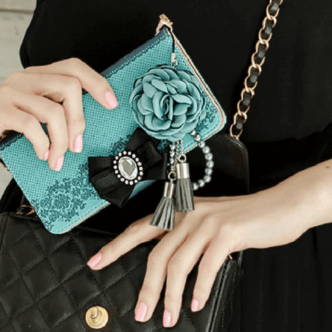 Full Set :  Shirring Object Wallet Case + Peony Flower Strap + Iris Hand Chain - Blush - JessicaCollection
