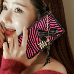 The Zebra Handmade Wallet Case - Hot pink - JessicaCollection