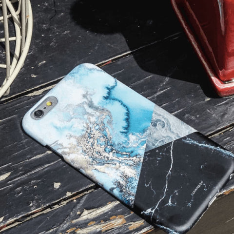 Light Blue Marble Effect Back Phone Case (UN-1718) - JessicaCollection