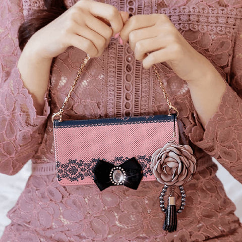 Full Set :  Shirring Object Wallet Case + Peony Flower Strap + Iris Hand Chain- Indi Pink