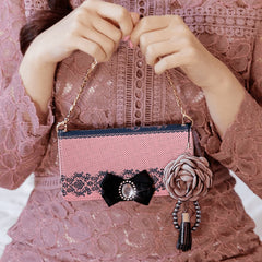 Full Set :  Shirring Object Wallet Case + Peony Flower Strap- Indi Pink
