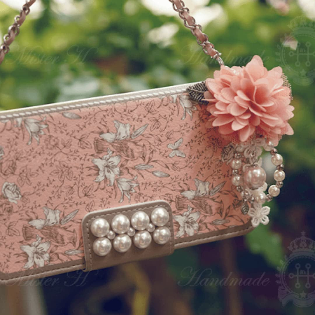 Full Set :  Garden Age Hand Made Wallet Case + Leavely Flower String - Pink - JessicaCollection