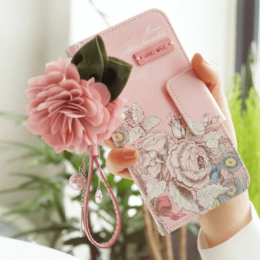 Full Set: Maria Hand Made Wallet Case+Ranun Jewellery Flower String - JessicaCollection