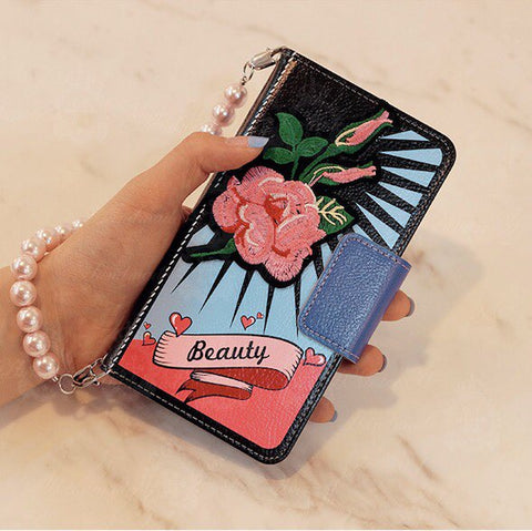 Orient Pop Tattoo Style Hand Made Wallet Case - Pink