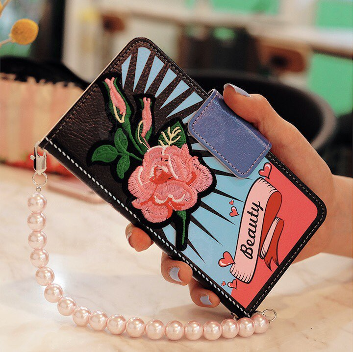 Orient Pop Tattoo Style Hand Made Wallet Case Pink + Big Pearl Chain