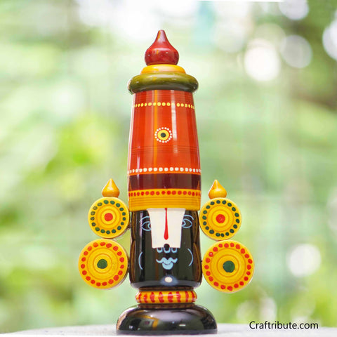 Hand painted wooden Balaji - Straight Crown