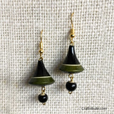 Bell Shape Wooden Earrings - Black & Green