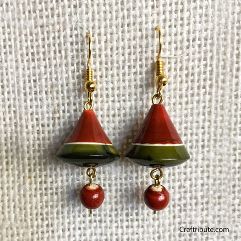 Bell Shape Wooden Earrings - Red & Green