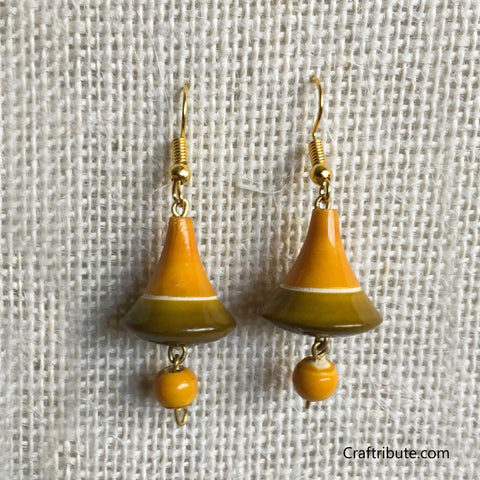 Bell Shape Wooden Earrings - Yellow & Green