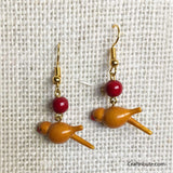 Bird Shape Wooden Earrings - Yellow & Red
