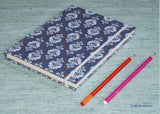 Handmade Paper Notebook with white floral design
