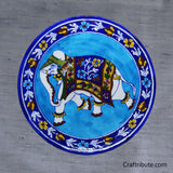 Hand Painted Decorative Plate with Elephant Design